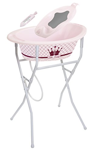 Rotho Babydesign Bath Set with Adjustable Stand and Tub with 360° Design, Royal Look with Crown, 0-12 Months, Little Princess StyLe! Ideal Bathing Solution, 21039020801