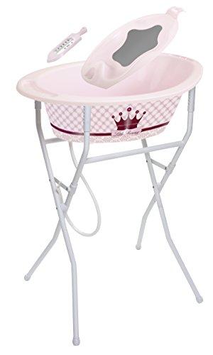 Rotho Babydesign Badeset mit höhenverstellbarem Klapp-Ständer, Elegantes Kronenmotiv, 0-12 Monate, Bis max. 15kg, Little Princess StyLe! Ideale Badelösung, 21039020801