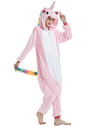 ShiyiUP Einhorn Schlafanzug Jumpsuit Erwachsene Kinder Pyjama Karneval Halloween Kostüm mit Kapuzen,2#,L