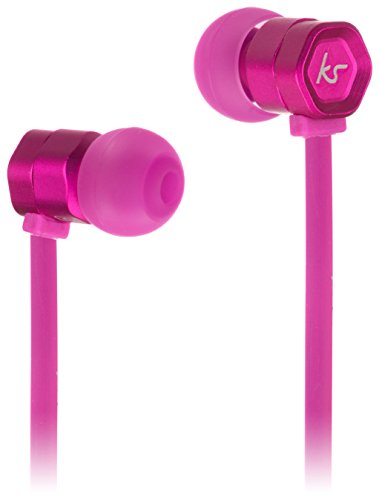 KitSound Hive Buds In-Ear Kopfhörer mit In-Line Mikrofon und Gewirrfreiem Flachkabel Kompatibel mit Apple iPod, iPhone, iPad, Smartphone, Tablet und MP3 Player - Pink