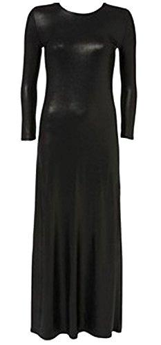 Chocolate Pickle ® De dames Noir effet mouillé manches Maxi Dress Wetlook
