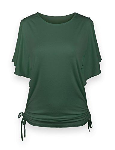 ReliBeauty Damen Rundausschnitt T-shirt Kurzarm Volant Falten Verstellbare Bände Tunika Tops, Grün, 46 (Band-tunika)