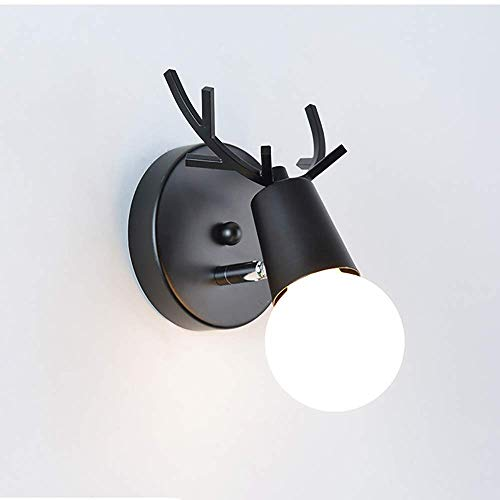 ZHJJYPBIDEN Verstellbare Wandleuchte LED-Lampe leuchtet außen Deer Stuhl Stil Wandleuchte Scandinavian Moderne minimalistische Interieur Schlafzimmer Wohnzimmer Wandleuchte, schwarz -
