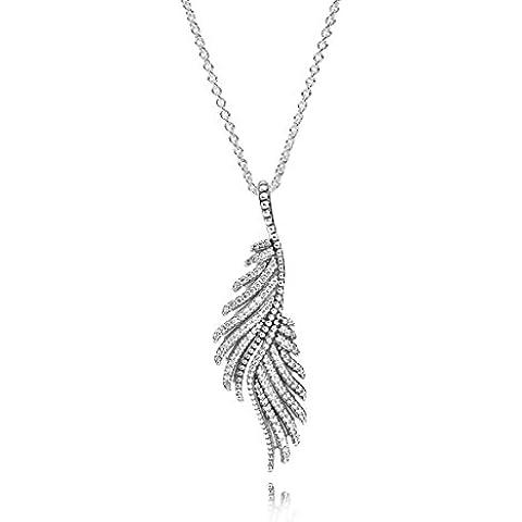 Pandora Collana da donna, con Zirconia cubica, 390373Phoenix piuma ciondolo in argento Sterling 925, con zirconi, pietre preziose trasparente 70cm - Piuma E Collana