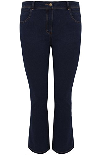 Yours Plus Size Womens Indigo Bootcut 5 Pocket Denim Jeans, Plus Size 16 to 32