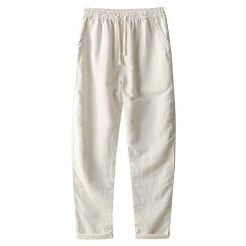 routinfly Herren Hose Leisure Pants Herren Relaxed Hose,Einfarbige Freizeithose aus Baumwolle und Leinen für Herren Atmungsaktiv lose Lange Hosen einfarbig gerade Hosen M-3XL -