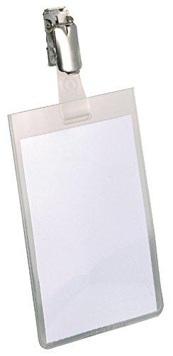 Durable 800219 Namensschild (mit Clip, 90 x 60 mm) Packung à 25 Stück transparent