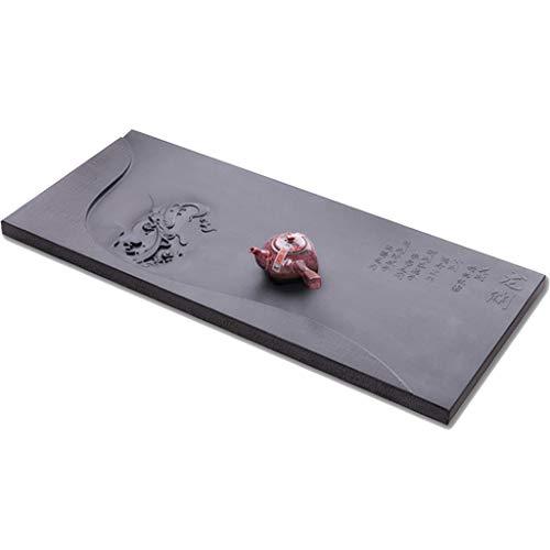 Juegos de té Té de mar Piedra Talla de Drenaje Bandeja de té Kung Fu Mejor Regalo Servicio de té y café (Color : Black, Size : 90 * 40 * 3cm)