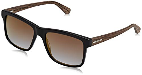 Wood Fellas Unisex-Erwachsene Sunglasses Basic Blumenberg Sonnenbrille, gold mirror/black/walnut, 56
