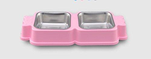 Zuckerförmige Hundenapf Edelstahl Doppelschüsseln (Pink)