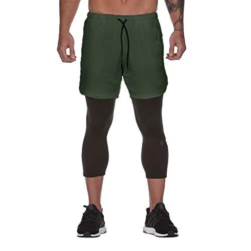 Men's Compression Shorts Running Baselayer Cool Dry Sports Tights Leggings Sommer 2 in 1 Kurze Laufshorts Fitness Joggen und Training Sporthose mit Taschen