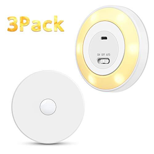 TASMOR 6 LEDs Nachtlicht mit Bewegungsmeleder, innen Bewegungsmelder Licht, USB Aufladbar Auto EIN/AUS für Schlafzimmer, Flur, Treppen, Küche, Bett, Kindrzimmer- 3 Stück