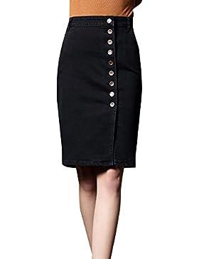 Falda Vaquera Para Mujer Tamaño Grande Elasticidad Slim Falda De Mezclilla