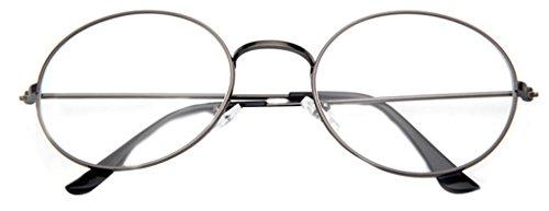 La vogue Brille Nerdbrille Retro Rund Unisex Grau Linsebreite52mm