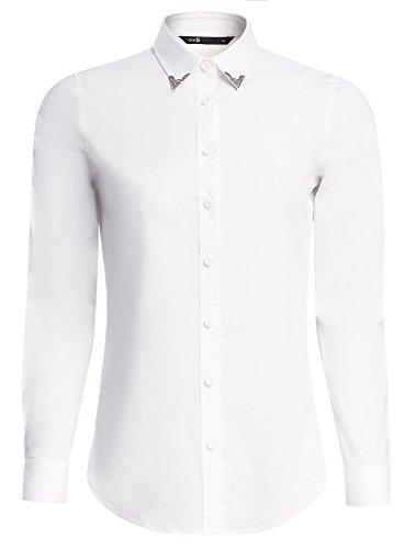 oodji Ultra Donna Camicia in Cotone con Decorazione su Colletto Bianco (1000N)