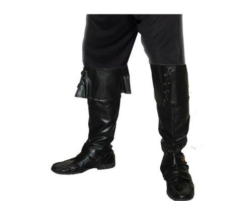 Karneval Kostüm Zubehör Piraten Schuh Überzieher Deluxe schwarz