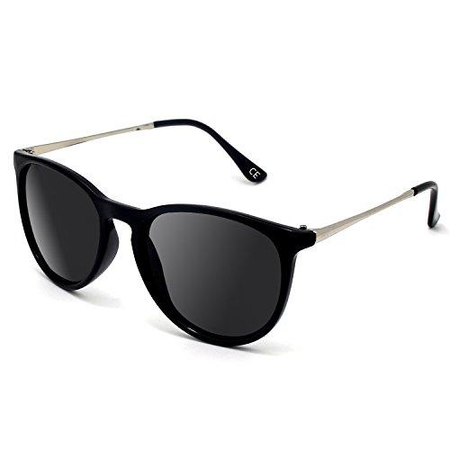 BLEVET Polarized UV400 Gafas de sol Vintage para hombres y mujeres BE001 (Black)