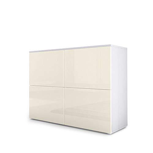 Vladon Kommode Sideboard Rova, Korpus in Weiß matt/Türen in Creme Hochglanz und Creme Hochglanz - Creme Sideboard