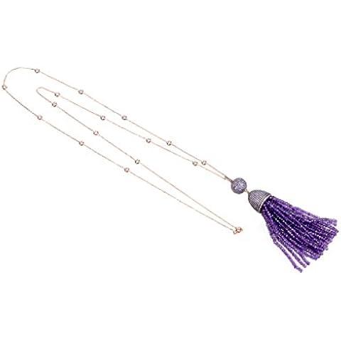 Tassel Ball Necklace Amethyst - Gemstone Encrusted