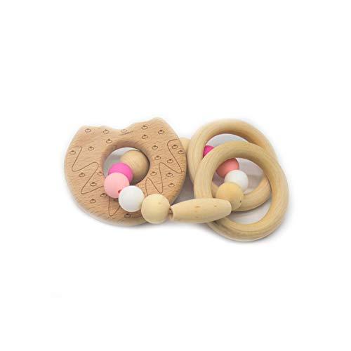 JER Langlebiges Silikon Holz Rasseln Baby Safe Ring Beißring Hand Entwicklung Educational Kinder Spielzeug Krapfen Art Spielzeug