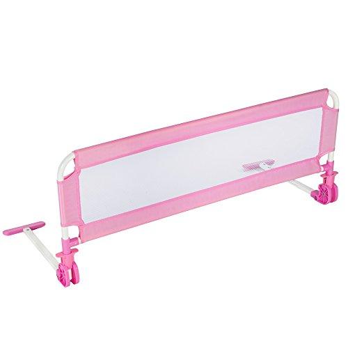 TecTake Bed Guard Toddler Safety Childs Bedguard Baby Folding Mesh Rail 102cm Pink