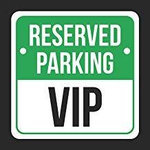 JeremyHar75 Reserved Parking VIP Druck schwarz, grün & weiß Hinweis Parkplatz Kunststoff eckig Blechschild Küche und Esszimmer Haus Dekor Essen Getränke Bar 30 cm x 30 cm