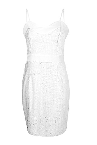 Femmes blanc Boutique Kayla Sequin Mesh Panelled Bodycon Dress Blanc