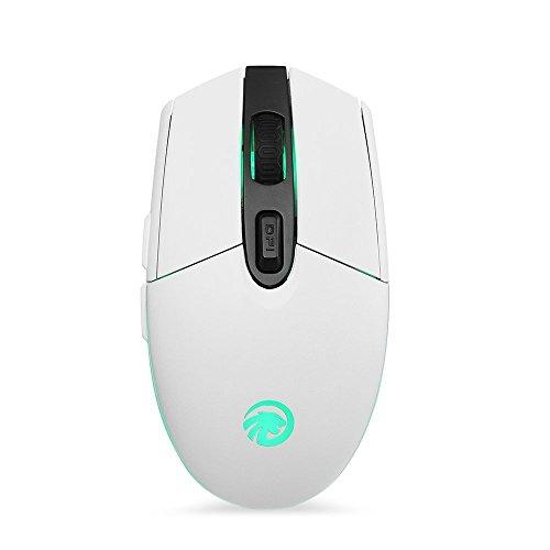 tenmos T10Optische Wiederaufladbare Kabellose Computer Maus 2,4GHz USB LED kabellos wiederaufladbar Maus mit 3verstellbaren CPI 6Tasten für Mac/PC/Laptop (schwarz)