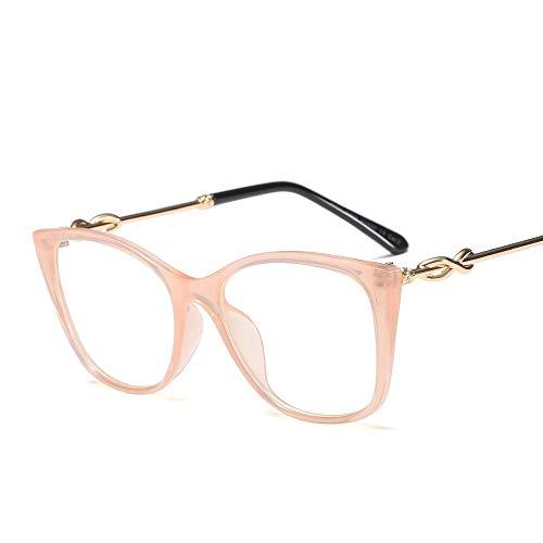 Cat Eye Flat Glasses Frame Brillen Optische klare Linsengläser für Frauen. Accessoires (Farbe : Clear/pink)