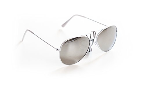 Piloten-Brille Sonnen-Brille Flieger-Brille Weiß Verspiegelt UV-Schutz 400 ca. 13,5 cm Breit Herren Damen Unisex Cosplay Trend-Brille Nerd-Brille Geek-Brille White