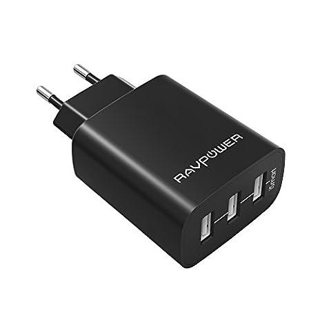 RAVPower RP-UC12 USB Ladegerät 3-Port 30W 6A (insgesamt) für iPhone 8/8 Plus iPhone X iPad Galaxy S8, S8 Plus , Note, Nexus, HTC, Motorola, LG, Xiaomi Smartphone Tablets