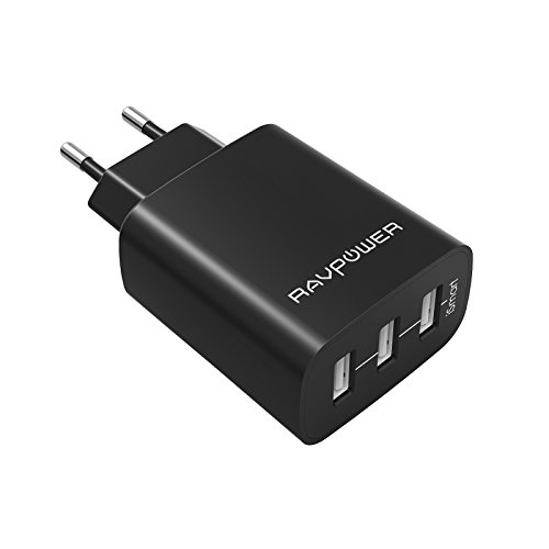 RAVPower Caricatore USB da Muro a 3 Porte (30W, 5V/6A), con Output Massima Fino a 2.4A, Compatto per iPhone, iPad, Huawei, Samsung Galaxy, Tablet e Altri Dispositivi USB (Nero)