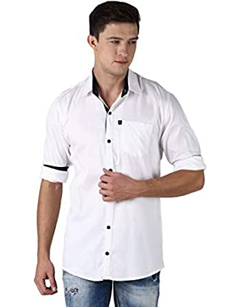 LEVIZO 100% Cotton Plain Solid Contrast Casual Classic Fit Shirt Full Sleeves for Men