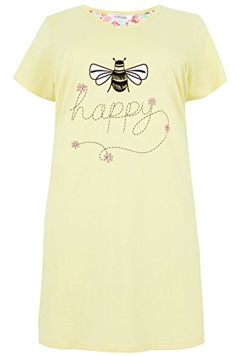 Yours Clothing Women's Plus Size 'bee Happy' Nightdress