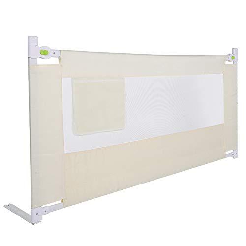 Bettgitter Klappbar, Geländer für Kinderbetten für Babys, Schutzgitter für Bett und Kinderbett, stabil, extra lang, mit Tasche + atmungsaktives Fenster aus Nylon 180 cm