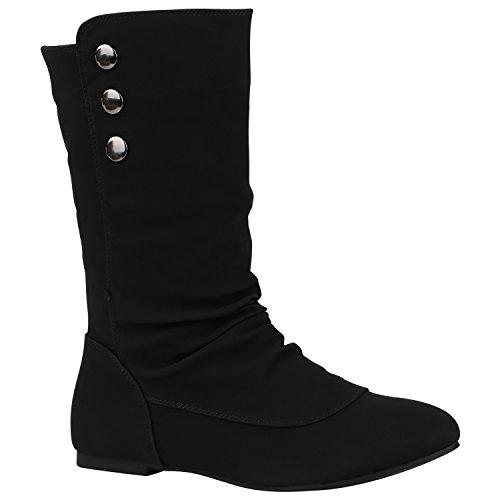 Bequeme Flache Damen Stiefel Hochschaft Stiefeletten Schuhe 149723 Schwarz Nieten 41 Flandell