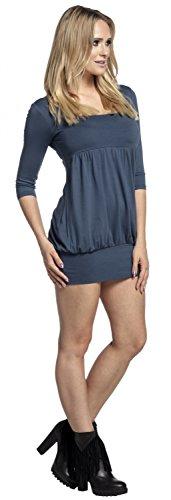 Glamour Empire. Femme Mini Robe Empire Tunique Boule Courte Manches 3/4 . 954 Bleu Gris