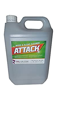 Attack - 5L Moss, Mould and Algae Remover Cleaner - Stone, Concrete, Tiles, Fountains, Plastic, Garden furniture, Chrome, Bricks, Pipes - Removes Unsightly Black Stains Elimitating Any Health Hazard - Pressure Washer Safe