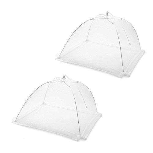 KACOOL Food Cover Tent Umbrella Pop-Up Mosquito Protection Mesh Screen, 16 Inch White Reusable and Collapsible Outdoor Picnic BBQ Food Covers Net for Flies, Bugs & Mosquitoes, Set of 2