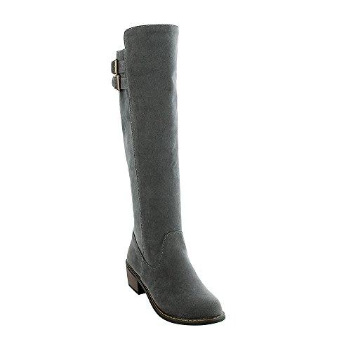 Guoar Blockabsatz Round Toe Damen Schlupfstiefel Samt Freiziet Knie Hoch Stiefel mit Riemchen Grau