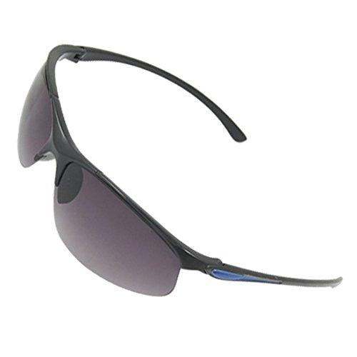 Unisex Blau Detaillierung Schwarz Kunststoff Arme Rauch-Objektiv-Sonnenbrille Dekor (Objektiv Blau Rauch)
