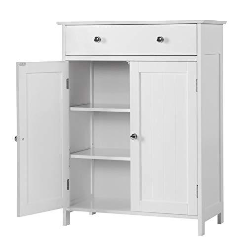 Yaheetech armadietto bianco da bagno mobiletto salvaspazio a terra per bagno cucina camera da letto ufficio con 2 ante e 1 cassetto 60 x 30 x 80 cm
