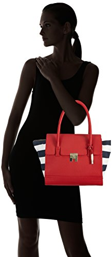 Tommy Hilfiger Th Lock Satchel, sacs à main Rouge - Rot (CHILLI PEPPER-PT / MIDNIGHT / WHITE 615)