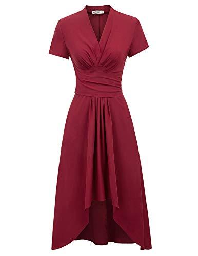 cocktailkleid v Ausschnitt Elegante Kleider Kurzarm Petticoat Kleid 50er Jahre Swing Kleid CL1073-2 XL