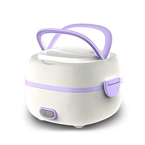 JohnJohnsen Multifunktionale Elektrische Lunchbox Mini Reiskocher Tragbare Lebensmittel Heizung Dampfer Hitzebewahrung Lunchbox Eu-stecker (lila)