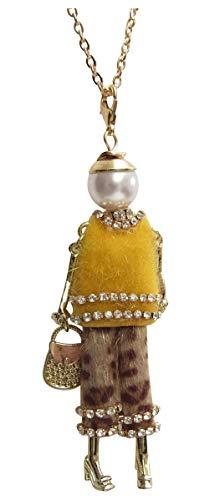 Halskette mit Anhänger, hohe Puppe, Gelb und Leoparden-Hose. - Gelb Leopard
