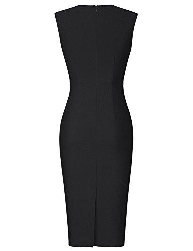 MUXXN Jupe fourreau femme à décolleté V couleur noir relax et ajustée Black