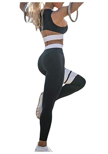 EnergyWomen Open Back Bodycon High-waisted Crop Workout Pants Running Bra Black XS High-waisted Crop
