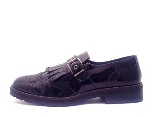 IGI&CO 48340 nero scarpe donna sportive eleganti derby frangia vernice Nero