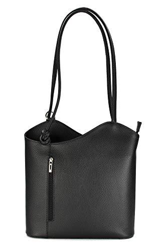 Belli ital. Ledertasche Backpack 2in1 Rucksack Handtasche Schultertasche - Freie Farbwahl - 28x28x8 cm (B x H x T) (Schwarz)